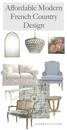 Do you struggle with putting together your decor vision while staying in budget? In this post I'm sharing 5 tips and sources for achieving success with affordable modern French country design! #modernfrenchcountry #frenchcountrydesign #frenchinteriors #shopfurniture #frenchfurniture #wayfair #walmart #serenaandlily #moderndesign French Country Interiors, Modern French Country, French Country Bedrooms, French Country Living Room, French Country Farmhouse, French Home Decor, French Country Decorating, Farmhouse Plans, Modern French Decor