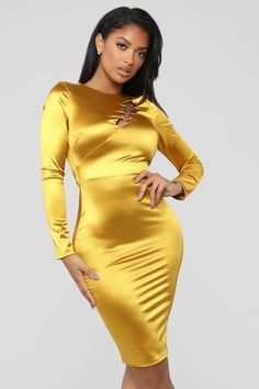 Ring Him In Dress - Mustard – Fashion Nova Satin Mini Dress, Silky Dress, Satin Dresses, Tight Dresses, Sexy Dresses, Mustard Fashion, Celebrity Style Casual, Fashion Nova Models, Women's Fashion