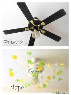 Trasformare la ventola in un lampadario fiorito