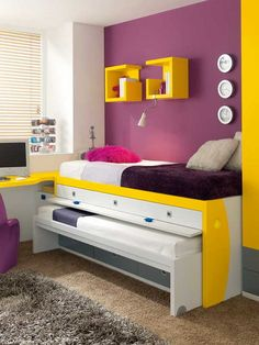 Purple and yellow bedroom i love this very modern purple and yellow room the trundle bed . purple and yellow bedroom purple and yellow furniture Small Room Bedroom, Trendy Bedroom, Girls Bedroom, Bedroom Ideas, Small Rooms, Boy Bedrooms, White Bedroom, Girls Bunk Beds, Kid Beds