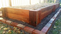 Blue Gum sleeper raised vege garden. Recycled old red bricks create a border around the walls of the garden and will be planted with herbs and plants that repel snails and other unwanted pests from climbing up.