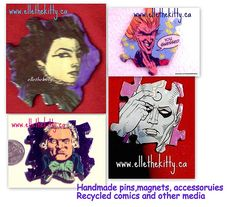 Goth collage handmade art  Death cameo is recycled comic and handpainted background, coated with resin, robbespierre is too.  all recycled media one of a kind, handmade by eager eco indie artist. if you like em, pls share the love  ellethekitty on etsy