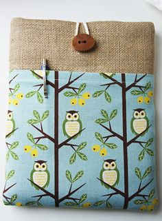 SALE iPad Cover Japanese Cotton With Owl Print, iPad Sleeve, iPad Case and Handmade Wood Button. $22.99, via Etsy.