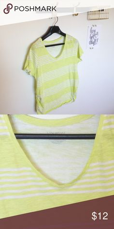 Lane Bryant plus size cotton striped yellow tee Lane Bryant striped yellow green v neck tee size 14/16. Sides are gathered for a flattering fit.  Clean, smoke free home. Lane Bryant Tops Tees - Short Sleeve
