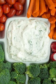 An easy homemade ranch dip, made lighter with Greek yogurt. This Lightened-Up Dilly Ranch Dip is perfect for serving with fresh cut veggies at holiday parties, or for keeping in a container in the fridge to pull out with veggies for a quick and healthy snack! | mandysrecipeboxblog.com