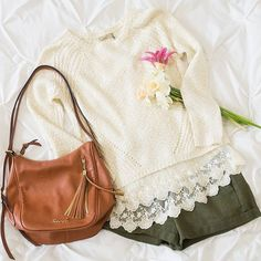 Airy sweaters and linen shorts #springstyle | www.shopidolcollective.com