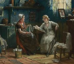 Deux femmes faisant de la dentelle. Huile sur toile de Edward Antoon PORTIELJE (belge 1861 - 1949)
