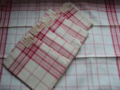 Vintage French Cotton Torchons/Teatowels Red by mamaisonfrancaise, €10.00
