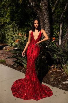 A&N Luxe Ciara Sequins Gown – Red A & N Luxe Ciara Gown – Abendkleid mit roten Pailletten – A & N Luxe Label Prom Girl Dresses, Prom Outfits, Mode Outfits, Sexy Dresses, Summer Dresses, Wedding Dresses, Casual Dresses, Red Evening Dresses, Sexy Gown