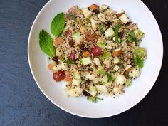 Quinoa, green apple, grapes, almond and mint salad