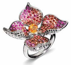 """Favorite #70, hmmmmm it appears I like flower rings! Sapphire, diamond, and 18K gold """"In Fiore"""" by Stefan Hafner."""