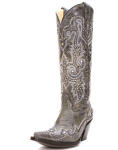 Corral Black And Grey With Studs Western Boot - Ladies Snip Toe