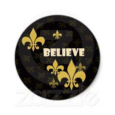 Black and Gold Believe Fleur de Lis Stickers