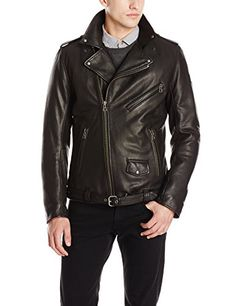 BOSS Orange Men's Jussa Leather Moto Jacket, Black, Moto jacket in pebbled finish featuring asymmetric zip closure and snap-down collar with oversized notches. Adjustable belt at hem. Black Leather Jacket Outfit, Mens Leather Bomber Jacket, Leather Jacket With Hood, Moto Jacket, Leather Men, Jacket Men, Leather Jackets For Sale, Boss Orange