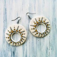 Cercei « Categorii de Produse « Mărgelușa Clay Earrings, Washer Necklace, Hand Painted, Handmade, Jewelry, Hand Made, Jewlery, Bijoux, Schmuck
