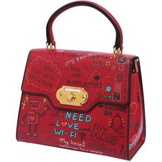 Dolce & Gabbana Women Large Welcome Leather Top Handle Bag (11.903.060 COP) ❤ liked on Polyvore featuring bags, handbags, shoulder bags, red bag, print bags, pattern bag, clasp purse and print purse