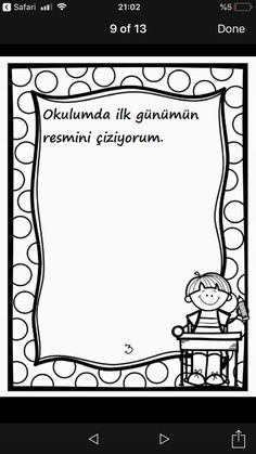 Turkish School, First Day Activities, Crafts For Kids, Arts And Crafts, Preschool Education, Worksheets, Coloring Pages, Back To School, Mosaic
