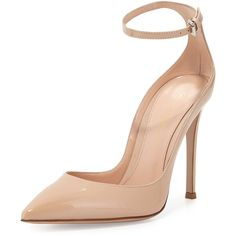 Gianvito Rossi Patent Low-Collar Ankle-Wrap Pump ($845) ❤ liked on Polyvore featuring shoes, pumps, nude, nude patent pumps, patent leather pumps, patent pumps, pointed toe ankle strap pumps and high heel shoes