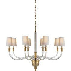Thomas O'Brien Vivian One-Tier Chandelier in Hand-Rubbed Antique Brass by Visual Comfort & Co. TOB5032HAB-NP