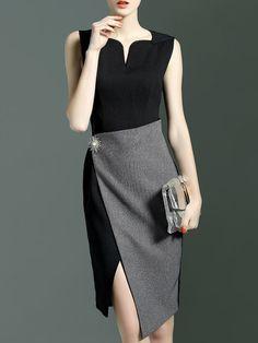 Black Contrast Grey Asymmetric Dress