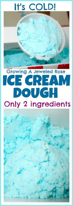 "Amazing two ingredient ""ice cream"" dough for fabulously fun sensory play- it's cold and looks just like ice cream! (Such a fun way for kids to keep cool this Summer)"