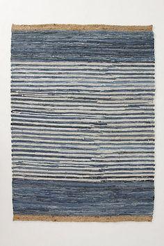 Colorblocked Denim Rug for Anthropologie. Bands of recycled denim. Denim Rug, Rug Inspiration, Denim Crafts, Weaving Textiles, Recycled Denim, Magic Carpet, Rug Making, Woven Rug, Rugs On Carpet