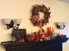 My mantle decorated for fall.