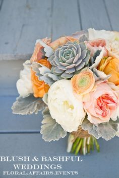 My Bouquet - Succulent bouquet with peonies and ranunculus in soft coral sunset colors.