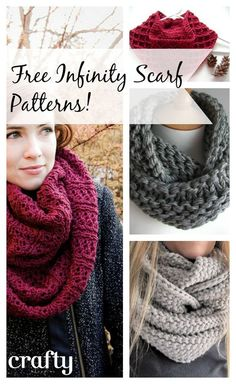 If I ever learn to crochet or knit.The Infinity Scarf - Free patterns to knit or crochet Bonnet Crochet, Knit Or Crochet, Crochet Scarves, Crochet Shawl, Crochet Crafts, Crochet Clothes, Crochet Baby, Crochet Humor, Free Crochet