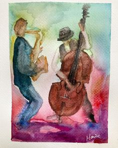 "C h e r y l M o r r i c e on Instagram: ""Jazz men 1 🎶 Watercolour 10x8"" . . . . #watercolor #watercolorpainting #watercolour #jazz #watercolour #art #artoftheday #artwork"" Jaz Z, Watercolour Art, Cheryl, Art Day, Artwork, Men, Instagram, Work Of Art, Auguste Rodin Artwork"