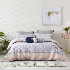 Kashmir Quilted Quilt Cover Peach