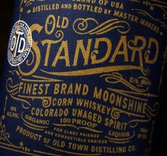 Innovated, designed, and named by the studio, Old Standard Moonshine is the world's first moonshine design printed on fabric. Each label is hand printed, stitched, and numbered for the local folk of Colorado. Old Standard's design is inspired by the past …
