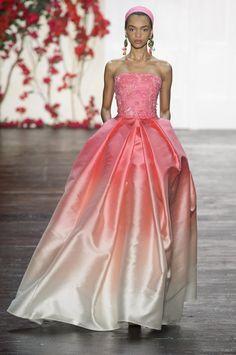 Pink gradient ball gown with embroidered bodice by Naeem Khan @ New York Fashion Week Spring Summer '16 #fashionweek #naeemkhan #rendezvousdelamode #couture #evening #ballgown #pink #gradient #embroidery #bodice #halter