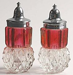 Vintage Indiana Glass Diamond Point Cranberry Salt and Pepper Set