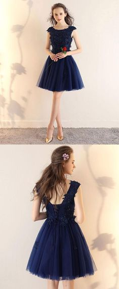 Dark blue lace tulle short prom dress, blue short bridesmaid dress