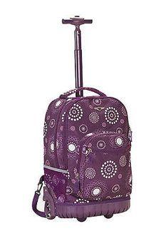 Rolling Backpack Rockland Sedan Purple Pearl School Bookbag Carry On 19in Bag
