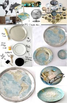 dinner plates, map crafts, paper, map projects, world maps, serving trays, diy, decoupage, globe