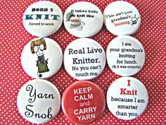 "Knitting Knitters Pin Back Buttons Badges Flair Party Favors - Pack of 9 1"" round pinback buttons"