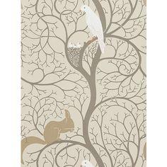 BuySanderson Squirrel & Dove Wallpaper, DVIWSQ101, Linen / Ivory Online at johnlewis.com