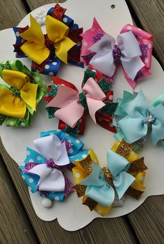 Triple layer sparkle disney inspired bows for girls boutique bows and headb Making Hair Bows, Diy Hair Bows, Bow Hair Clips, Hair Ribbons, Ribbon Bows, Diy And Crafts Sewing, Diy Crafts, Boutique Bows, Girls Boutique