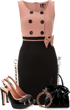 """""""Pink n Black Contest."""" by mzmamie on Mode Collage, Robes Glamour, Dress Outfits, Fashion Dresses, Dress Shoes, Mode Vintage, Complete Outfits, Work Attire, Classy Outfits"""