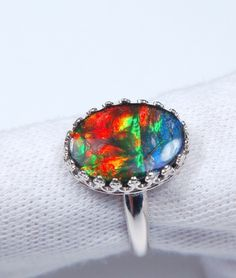 Ammolite Jewelry Ring.14x10mm. Set in Argentium Non-Tarnish Sterling Silver.SOLD
