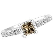 Princess Cut Champagne Brown Diamond Engagement Ring