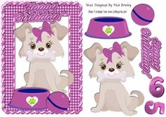 Cute little puppy in pink gingham frame on Craftsuprint - View Now!