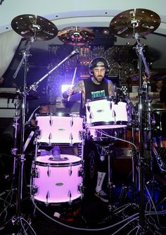"""Legendary Blink-182 drummer Travis Barker returned to Hyde Bellagio in Las Vegas to kick off his unprecedented residency dubbed """"Give the Drummer Some"""" on Aug 18, 2015"""
