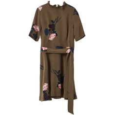Ganni - F1428 Donaldson Silk Dress Dark Olive Rose