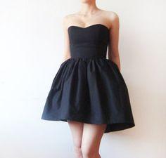 Black Cotton Dress, Tulle Petticoat included, Little Black Dress, Asymmetrical Black dress, party dress - boned bodice dress - Made to order. $135.00, via Etsy.