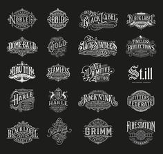 Selected handlettered logo and type designs from 2017 and 2018 Vintage Logo Design, Vintage Typography, Hand Drawn Lettering, Lettering Design, Logo Design Inspiration, Icon Design, Geometric Shapes Art, Sign Writing, Letter Logo