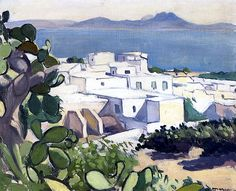 Albert Marquet (French, > Sidi-Bou-Said Albert Marquet, circa 1923 Henri Matisse, Sidi Bou Said, Cute Paintings, Beginner Painting, City Art, Landscape Paintings, Landscapes, Art Photography, Illustration Art