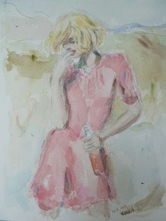 Saatchi Online Artist Karen Persson; Painting, Lady in Pink Wondering #art